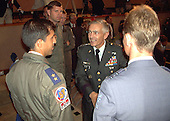 United States Army General Wesley Clark, Supreme Allied Commander Europe (SACEUR) , center, talking with the pilots that participated in the Kosovo airstrikes as he presents the findings of the Kosovo Strike Assessment Team during a press briefing at North Atlantic Treaty Organization (NATO) Headquarters, Brussels, Belgium on September 16, 1999.   .Credit: NATO via CNP