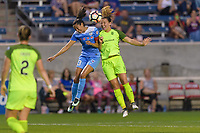 Bridgeview, IL - Wednesday August 16, 2017: Christen Press, Rachel Corsie during a regular season National Women's Soccer League (NWSL) match between the Chicago Red Stars and the Seattle Reign FC at Toyota Park. The Seattle Reign FC won 2-1.