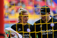 HARRISON, NJ - SEPTEMBER 29: Orlando Pride goalkeeper Ashlyn Harris #24 during a game between Orlando Pride and Sky Blue FC at Red Bull Arena on September 29, 2019 in Harrison, New Jersey.