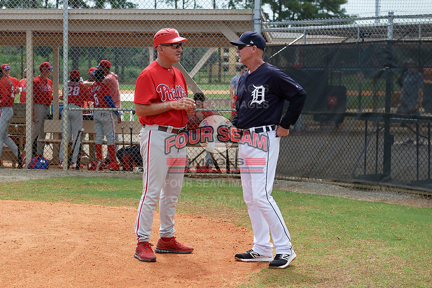 Philadelphia Phillies manager Roly de Armas talks with Gary Cathcart before an Instructional League game against the Detroit Tigers on September 19, 2019 at Tigertown in Lakeland, Florida.  (Mike Janes/Four Seam Images)