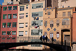 Colorful Facades and St Agusti Bridge in Girona, Catalonia, Spain