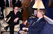 Bono, lead singer of the rock group U2, meets with United States House Minority Leader Dick Gephardt (Democrat of Missouri) in the U.S. Capitol in Washington, D.C. to lobby for funding for an AIDS cure on March 13, 2002..Credit: Ron Sachs / CNP