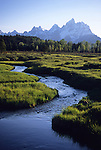 A spring creek winds through a meadow in Grand Teton National Park, Jackson Hole, Wyoming.
