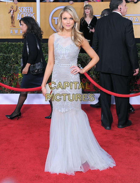 Katrina Bowden.Arrivals at the 19th Annual Screen Actors Guild Awards at the Shrine Auditorium in Los Angeles, California, USA..27th January 2013.SAG SAGs full length hand on hip grey sleeveless gray sheer white dress clutch bag fishtail .CAP/DVS.©DVS/Capital Pictures.