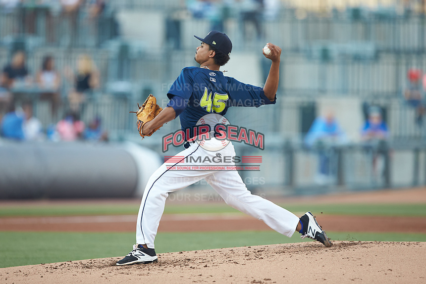 Columbia Fireflies starting pitcher Harol Gonzalez (45) in action against the Charleston RiverDogs at Spirit Communications Park on June 9, 2017 in Columbia, South Carolina.  The Fireflies defeated the RiverDogs 3-1.  (Brian Westerholt/Four Seam Images)