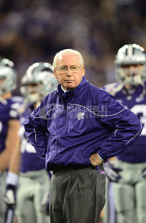 Jan. 3, 2013; Glendale, AZ, USA: Kansas State Wildcats head coach Bill Snyder against the Oregon Ducks during the 2013 Fiesta Bowl at University of Phoenix Stadium. Oregon defeated Kansas State 35-17. Mandatory Credit: Mark J. Rebilas-