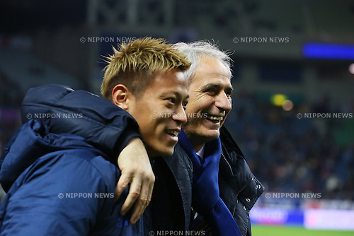 L-R) Keisuke Honda,   Vahid Halilhodzic (JPN), <br /> MARCH 24, 2016 - Football / Soccer : <br /> FIFA World Cup Russia 2018 Asian Qualifier Second Round Group E match between<br /> Japan 5-0 Afghanistan <br /> at Saitama Stadium 2002 in Saitama, Japan.<br /> (Photo by Yohei Osada/AFLO SPORT)