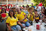 Football fans from Colombia watch their national team's Russia 2018 World Cup Group H match against Poland. (Basque Country). June 24, 2018. (Gari Garaialde / BostokPhoto)