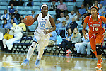 03 January 2016: North Carolina's Jamie Cherry (10) and Clemson's Paige Mosley (14). The University of North Carolina Tar Heels hosted the Clemson University Tigers at Carmichael Arena in Chapel Hill, North Carolina in a 2015-16 NCAA Division I Women's Basketball game. UNC won the game 72-56.