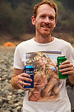USA, Oregon, Wild and Scenic Rogue River in the Medford District, having a beer or two at the Horseshoe Bend Campground