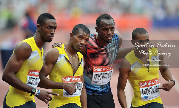 Mario Forsythe, Kemar Bailey-Cole, Warren Weir and Ussain Bolt (JAM), Racers Track Clkub. Sainsburys Anniversary Games. IAAF Diamond League. Olympic Stadium. Queen Elizabeth Olympic Park. Stratford. London. UK. 27/07/2013. MANDATORY Credit Garry Bowden/SIPPA - NO UNAUTHORISED USE - 07837 394578