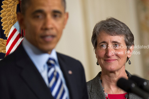 United States President Barack Obama, left, announces Sally Jewell, chief executive officer of Recreational Equipment Inc., as his nominee to become Secretary of the United States Department of the Interior at the White House in Washington, D.C., U.S., on Wednesday, Feb. 6, 2013. Jewell's background as an engineer and experience in the banking, energy and retail industries give her the skills needed to manage a department that oversees 500 million acres of public land, Obama said. .Credit: Andrew Harrer / Pool via CNP