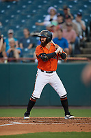 Bowie Baysox Brett Cumberland (28) at bat during an Eastern League game against the Richmond Flying Squirrels on August 15, 2019 at Prince George's Stadium in Bowie, Maryland.  Bowie defeated Richmond 4-3.  (Mike Janes/Four Seam Images)