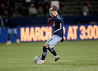 CARSON, CA - MARCH 07: David Milinkovic #7 of the Vancouver Whitecaps warming up during a game between Vancouver Whitecaps and Los Angeles Galaxy at Dignity Health Sports Park on March 07, 2020 in Carson, California.
