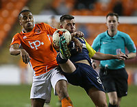 Stevenage's Steven Schumacher vies for possession with Blackpool's Neil Danns<br /> <br /> Photographer Alex Dodd/CameraSport<br /> <br /> The EFL Sky Bet League Two - Blackpool v Stevenage - Tuesday 14th March 2017 - Bloomfield Road - Blackpool<br /> <br /> World Copyright &copy; 2017 CameraSport. All rights reserved. 43 Linden Ave. Countesthorpe. Leicester. England. LE8 5PG - Tel: +44 (0) 116 277 4147 - admin@camerasport.com - www.camerasport.com