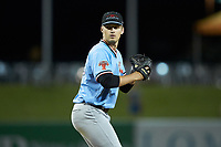Hickory Crawdads relief pitcher Grant Wolfram (36) in action against the Ocelotes de Greensboro at First National Bank Field on June 11, 2019 in Greensboro, North Carolina. The Crawdads defeated the Ocelotes 2-1. (Brian Westerholt/Four Seam Images)