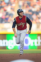 Austin Romine (7) of the Scranton/Wilkes-Barre RailRiders hustles towards third base during the game against the Durham Bulls at Durham Bulls Athletic Park on May 15, 2015 in Durham, North Carolina.  The RailRiders defeated the Bulls 8-4 in 11 innings.  (Brian Westerholt/Four Seam Images)