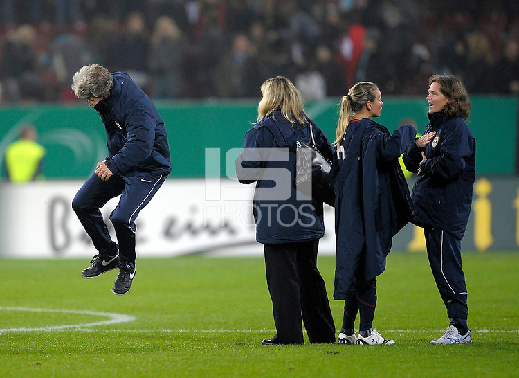 Head Coach Pia Sundhage celebrates after the game. US Women's National Team defeated Germany 1-0 at Impuls Arena in Augsburg, Germany on October 29, 2009.