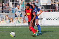 Rochester, NY - Friday May 27, 2016: Western New York Flash forward Taylor Smith (11), Boston Breakers defender Mollie Pathman (20). The Western New York Flash defeated the Boston Breakers 4-0 during a regular season National Women's Soccer League (NWSL) match at Rochester Rhinos Stadium.