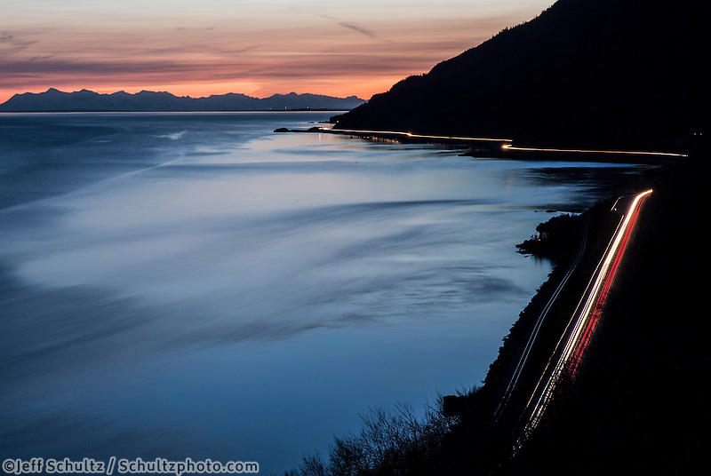 Sunset over the Alaska Range with Turnagain Arm, Cook Inlet and Seward Highway near Anchorage, Alaska   Spring<br />