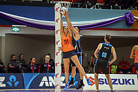 All Stars Aliyah Dunn tries to get hold of the ball during the Cadbury Netball Series match between NZ Men and All Stars at the Bruce Pullman Arena in Papakura, New Zealand on Friday, 28 June 2019. Photo: Dave Lintott / lintottphoto.co.nz