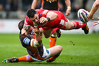 Picture by Alex Whitehead/SWpix.com - 19/03/2017 - Rugby League - Betfred Super League - Salford Red Devils v Castleford Tigers - AJ Bell Stadium, Salford, England - Salford's Justin Carney is tackled by Castleford's Grant Millington.