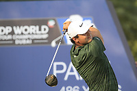 Patrick Reed (USA) on the 16th tee during the final round of the DP World Tour Championship, Jumeirah Golf Estates, Dubai, United Arab Emirates. 18/11/2018<br /> Picture: Golffile | Fran Caffrey<br /> <br /> <br /> All photo usage must carry mandatory copyright credit (© Golffile | Fran Caffrey)
