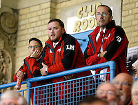 Haringey Racers coach Lee Mercer (C) looks on during the National Ice Hockey League South Division 2 Cup - Group B game between Haringey Racers and Slough Jets at Alexandra Palace, London on Sat Sept 13, 2014.