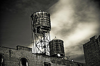 Water Tanks On A Building Roof In Soho Manhattan New
