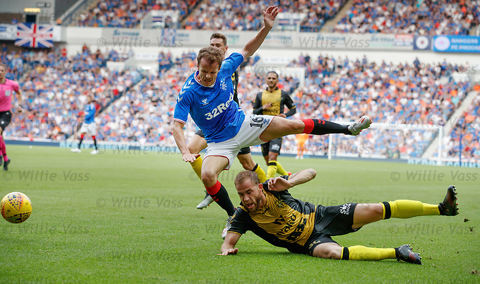 25.07.2019 Rangers v Progres Niederkorn: Andy Halliday of Rangers and Tom laterza of FC Progres Niederkorn