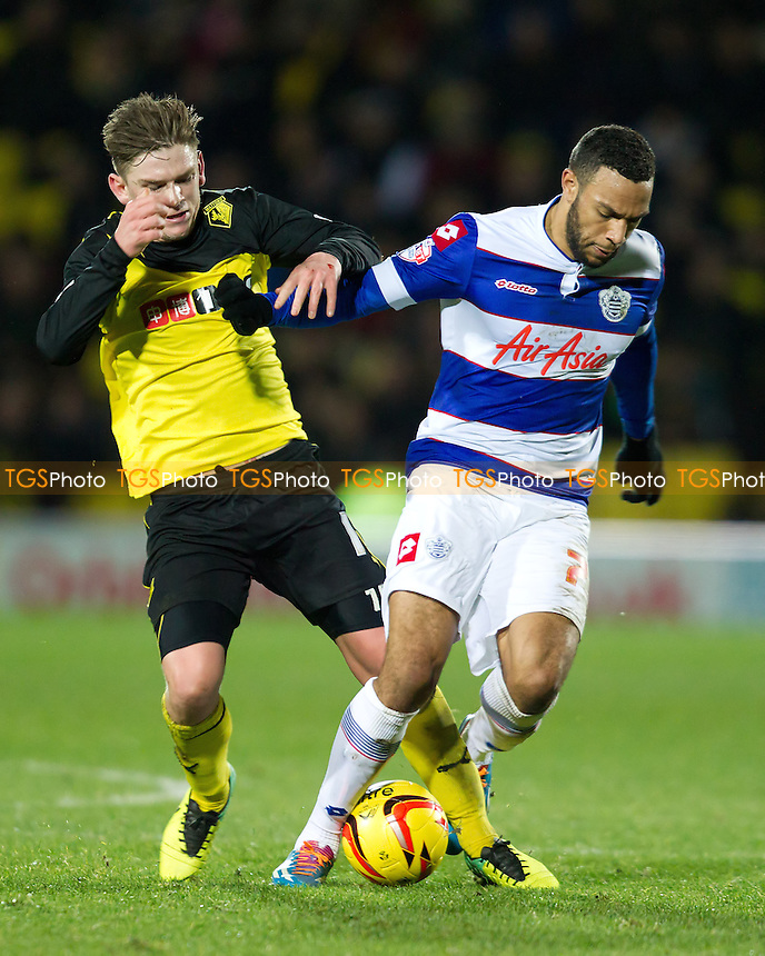 Sean Murray of Watford tussles with Matt Phillips of Queens Park Rangers - Watford vs Queens Park Rangers - Sky Bet Championship Football at Vicarage Road Stadium, Watford, Hertfordshire - 29/12/13 - MANDATORY CREDIT: Ray Lawrence/TGSPHOTO - Self billing applies where appropriate - 0845 094 6026 - contact@tgsphoto.co.uk - NO UNPAID USE