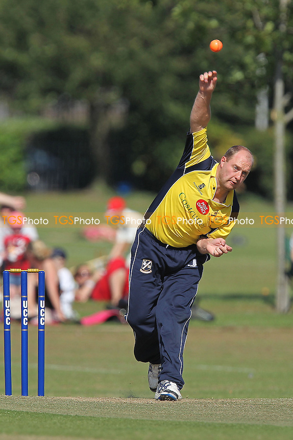 Terry Wyatt in bowling action for Upminster - Upminster CC vs Essex CCC - Graham Napier Benefit Match Cricket at Upminster Park - 09/09/12 - MANDATORY CREDIT: Gavin Ellis/TGSPHOTO - Self billing applies where appropriate - 0845 094 6026 - contact@tgsphoto.co.uk - NO UNPAID USE.
