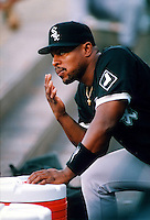 Albert Belle of the Chicago White Sox during a game at Anaheim Stadium in Anaheim, California during the 1997 season.(Larry Goren/Four Seam Images)