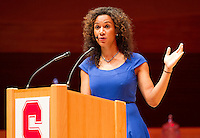 STANFORD, CA.,--OCTOBER 11, 2014---Rosalyn Gold-Onwude the master of ceremonies at  the Stanford Athletics Hall of Fame Induction Ceremony at the Stanford Bing Concert Hall on the Stanford University Campus.