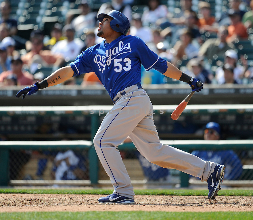 MELKY CABRERA, of the Kansas City Royals, in action during the Royals game against the Detroit Tigers on April 10, 2011 at Comerica Park in Detroit, Michigan.  The Royals beat the Tigers 9-0..