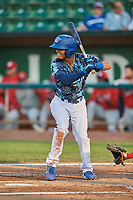 Jeremy Arocho (8) of the Ogden Raptors bats against the Orem Owlz at Lindquist Field on August 3, 2018 in Ogden, Utah. The Raptors defeated the Owlz 9-4. (Stephen Smith/Four Seam Images)