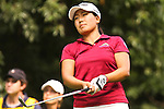 Jenny Suh from Fairfax, VA watched the ball drop onto the green on the 16th hole during Alliance Bank Golf Classic in Syracuse, NY.