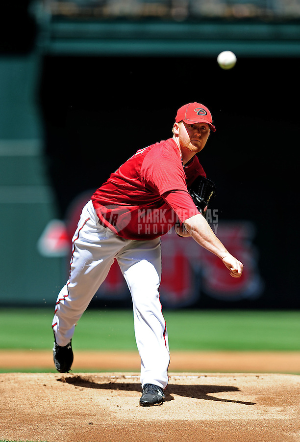 Apr. 3, 2010; Phoenix, AZ, USA; Arizona Diamondbacks pitcher Barry Enright against the Chicago Cubs at Chase Field. Mandatory Credit: Mark J. Rebilas-