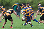 Theodore Solipo makes a run at Sepu Taufa. Premier Counties Power Club Rugby Round 3, Counties Power Game of the Week, between Patumahoe and Bombay, played at Patumahoe on Saturday March 24th 2018. <br /> Photo by Richard Spranger.<br /> <br /> Patumahoe Counties Power Cup Holders won the game 26 - 23 after trailing 7 - 23 at halftime.<br /> Patumahoe 26 - Penalty try, Richard Taupaki, Theodore Solipo, Craig Jones tries; Riley Hohepa 2 conversions. <br /> Bombay 23 - Shaun Muir, Jordan Goldsmith, Liam Daniela, tries; Tim Cossens conversion; Tim Cossens 2 penalties.