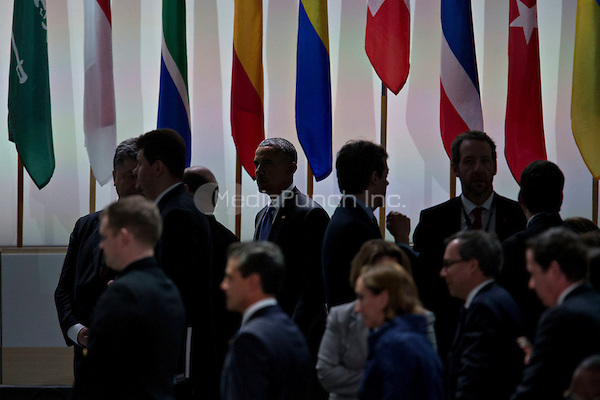 United States President Barack Obama, top center, arrives to a closing session at the Nuclear Security Summit in Washington, D.C., U.S., on Friday, April 1, 2016. After a spate of terrorist attacks from Europe to Africa, Obama is rallying international support during the summit for an effort to keep Islamic State and similar groups from obtaining nuclear material and other weapons of mass destruction. <br /> Credit: Andrew Harrer / Pool via CNP/MediaPunch