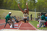 Jordan Banks of the Wake Forest Demon Deacons competes in the long jump portion of the heptathlon at the Charlotte Invitational at the Irwin Belk Track & Field Center on April 14, 2018 in Charlotte, North Carolina.  (Brian Westerholt/Sports On Film)