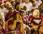 September 21, 2017. Durham, North Carolina.<br /> <br /> Fans cheers on the NCCU Eagles in the second half when they staged a comeback. <br /> <br /> The NCCU Eagles won a home game against the the South Carolina State Bulldogs 33-28 at O'Kelly–Riddick Stadium.