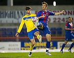 Inverness Caley Thistle v St Johnstone....28.03.12   SPL.Cillian Sheridan is tackled by Roman Golobart.Picture by Graeme Hart..Copyright Perthshire Picture Agency.Tel: 01738 623350  Mobile: 07990 594431