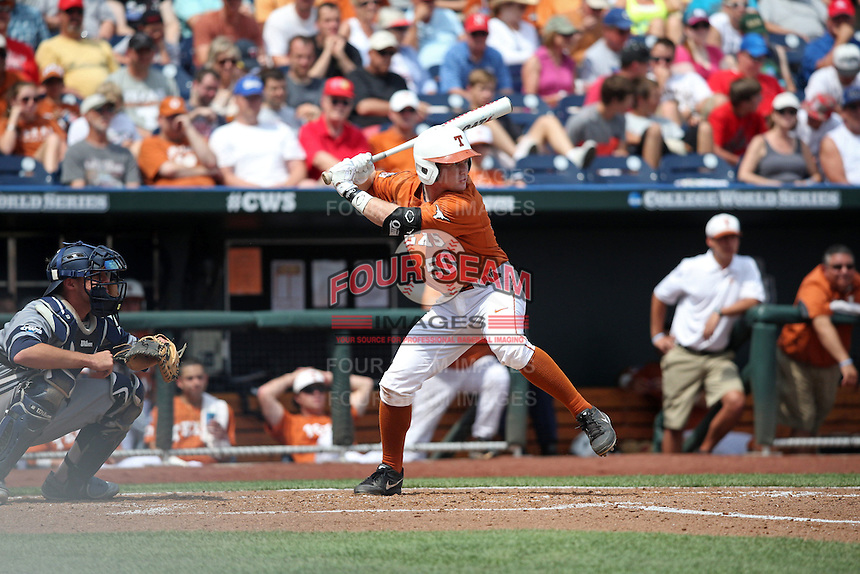 Zane Gurwitz #50 of the Texas Longhorns bats during Game 1 of the 2014 Men's College World Series between the UC Irvine Anteaters and Texas Longhorns at TD Ameritrade Park on June 14, 2014 in Omaha, Nebraska. (Brace Hemmelgarn/Four Seam Images)