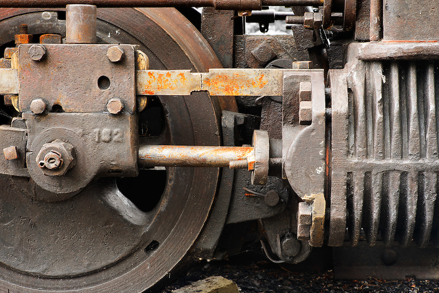 Wheel and brake of air powered locomotive, Bankhead, Banff National Park, Canadian Rockies, Alberta, Canada