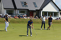 Guido Migliozzi (ITA), Jimmy Nesbitt (AM) and Niall Horan (AM) on the 4th green during the Pro-Am of the Irish Open at LaHinch Golf Club, LaHinch, Co. Clare on Wednesday 3rd July 2019.<br /> Picture:  Thos Caffrey / Golffile<br /> <br /> All photos usage must carry mandatory copyright credit (© Golffile | Thos Caffrey)