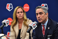 New York, NY - Thursday February 02, 2017: Christie Rampone, Jeff Plush during a joint NWSL and A+E Networks press conference at the A+E headquarters.