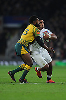 Manu Tuilagi of England clashes with Samu Kerevi of Australia during the Quilter International match between England and Australia at Twickenham Stadium on Saturday 24th November 2018 (Photo by Rob Munro/Stewart Communications)
