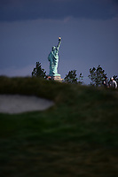 The Statue of Liberty stands in the bay with a view from 12 during round 3 Four-Ball of the 2017 President's Cup, Liberty National Golf Club, Jersey City, New Jersey, USA. 9/30/2017.<br /> Picture: Golffile | Ken Murray<br /> <br /> All photo usage must carry mandatory copyright credit (&copy; Golffile | Ken Murray)
