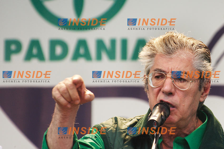 Umberto Bossi, Segretario Federale Lega Nord...Manifestazione della Lega Nord...Pontida, 01 Giugno 2008...Foto Antonietta Baldassarre Inside